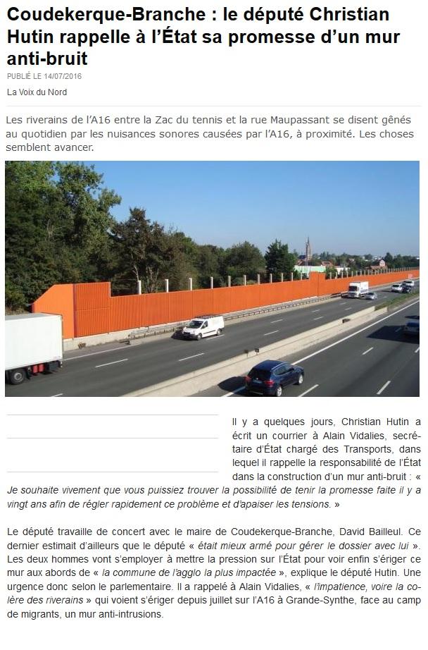vdn le député Christian Hutin rappelle à l'État sa promesse d'un mur anti-bruit